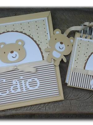 álbum diário bebê menino e caderno mensagens scrapbook urso
