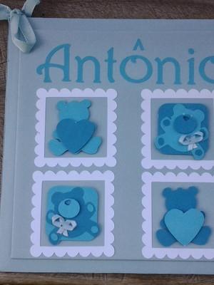 livro diário bebê personalizado menino urso azul scrapbook