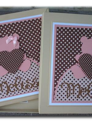 livro bebê personalizado e caixa menina ursinha rosa marrom