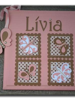 Diário Do Bebê personalizado menina borboletas rosa e marrom
