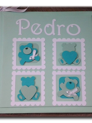 diário bebê personalizado menino ursinho verde scrapbook