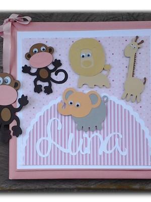 diário do bebê personalizado menina safári rosa scrapbook