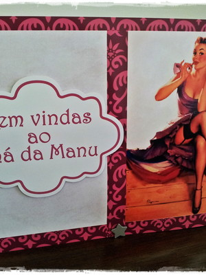 Placa Pin Up Cha de lingerie