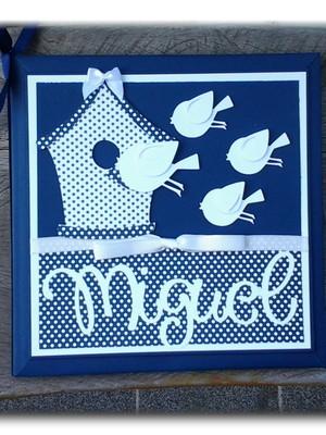 diário bebê personalizado menino passarinhos scrapbook