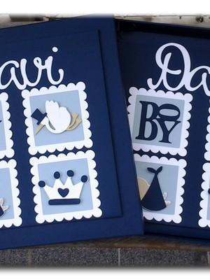 álbum livro bebê e caixa menino príncipe scrapbook marinho