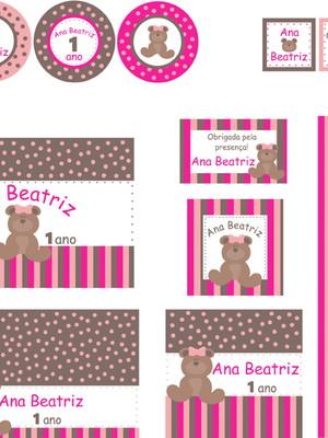 Kit digital Ursinha Rosa Marrom Pink