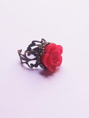 Anel Vintage Red Rose