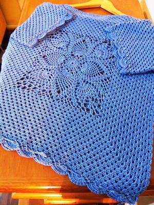 Blusa em crochet Big Square Pineapple