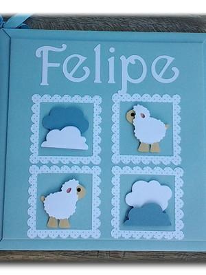 álbum livro bebê personalizado ovelhinha nuvens scrapbook