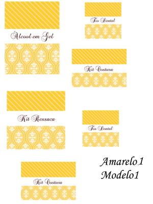 rótulos kit banheiro impresso e recortados amarelos