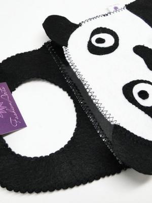 Lixeira em feltro plastificada por dentro Urso Panda