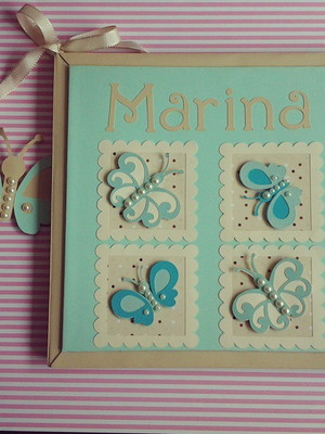 diário livro bebê personalizado menina scrapbook borboletas
