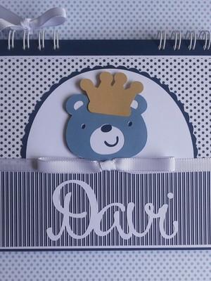 caderno personalizado bebê menino ursinho príncipe scrap