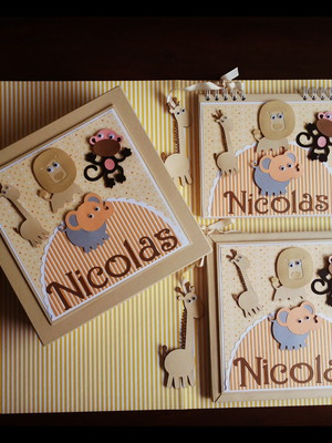 álbum bebê kit completo menino safári scrapbook caixa