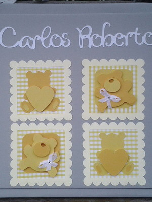 diário livro bebê menino ursinho cinza amarelo scrapbook