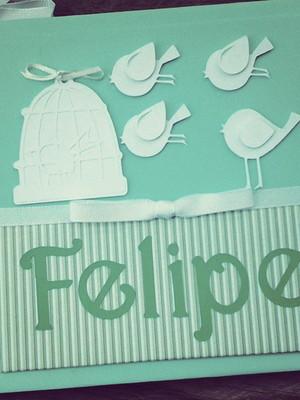 livro diário bebê personalizado menino scrapbook passarinho