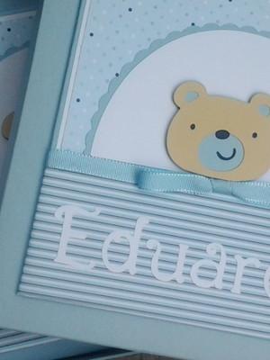 Livro Do Bebê Com Caixa para menino ursinho Fofo azul claro