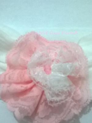 Tiara meia de seda -flor de renda rosa
