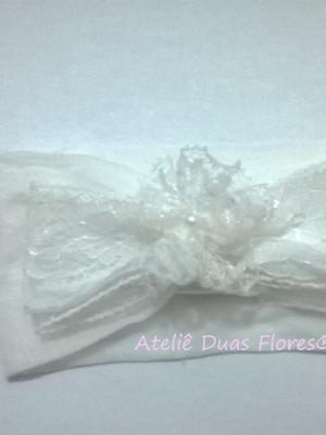Tiara meia de seda - laço bordado inglês