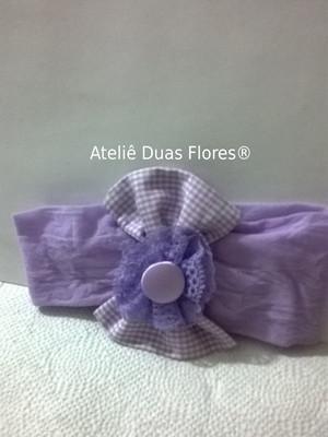 Tiara meia de seda - laço e flor lilás