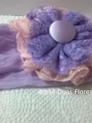 Tiara meia de seda -Flor lilás e rosa