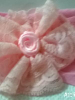 Tiara meia de seda -Flor Rosa