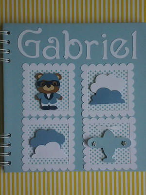 caderno personalizado bebê menino ursinho aviador scrap