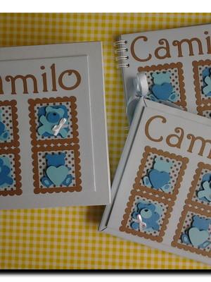 album diario livro bebe caderno mensagens ursinho azul marro