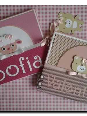caderno personalizado bebê menina maternidade chá scrap