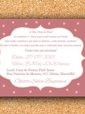 Arte Convite Poá Rosa Antigo (digital)