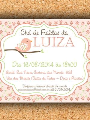 Convite Chá Passarinho Floral - Digital