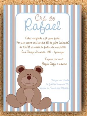 Arte Convite Virtual - Chá Ursinho