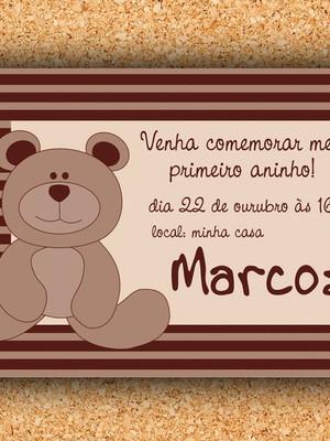 Convite Ursinho Marrom - digital