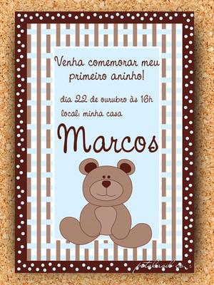 Convite Urso Azul e Marrom - digital