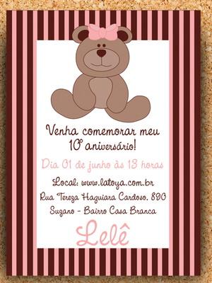Convite Urso Rosa e Marrom - digital