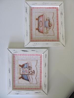 Dupla de Quadros Moldura de Madeira e Vidro Tam 17x22cm cada