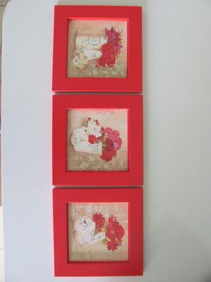 Trio de Quadros Moldura de Madeira e Vidro Tam 14x14cm cada
