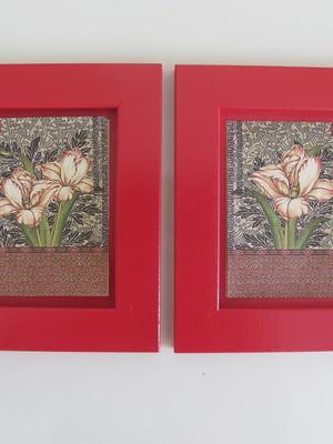 Dupla de Quadros Vermelho Marsala Flores