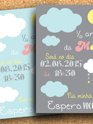 Arte Convite Nuvem Chuva Amor (digital)