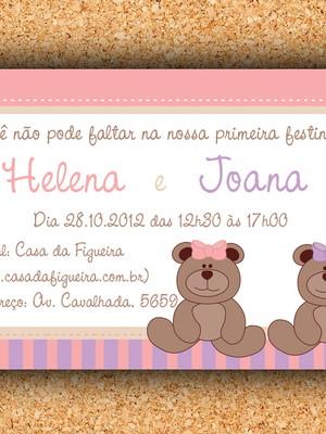 Arte Convite Ursinha Gêmeas (digital)