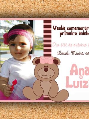 Convite com Foto - Ursinha