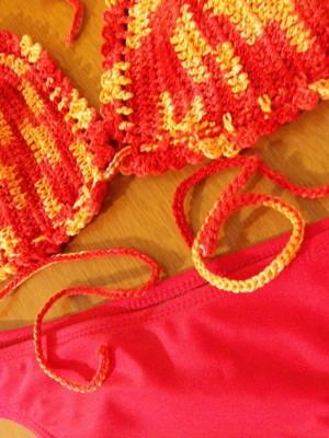 Bikini Coral em crochet