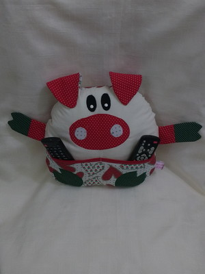 Almofada porco ( porta controle remoto)