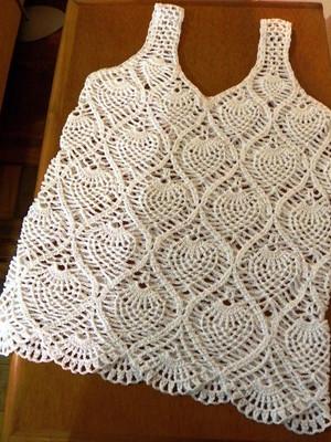 Regata Pineapple Branca em crochet