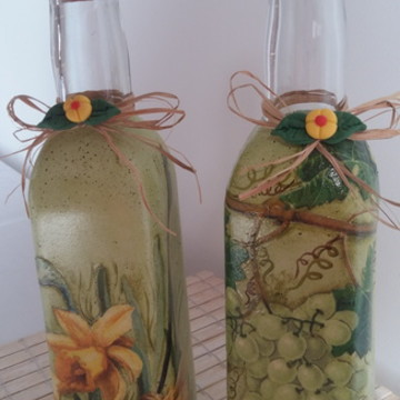 Kit 2 garrafas decoradas