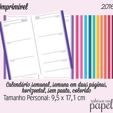 Imprimível Agenda Semanal 2016 Personal