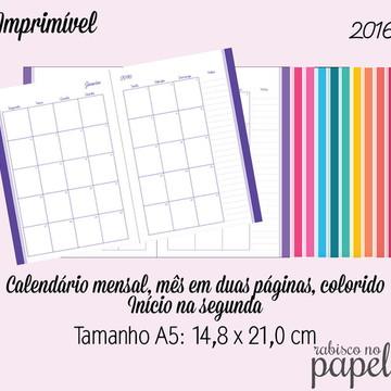 Imprimível Agenda Mensal 2016 - A5
