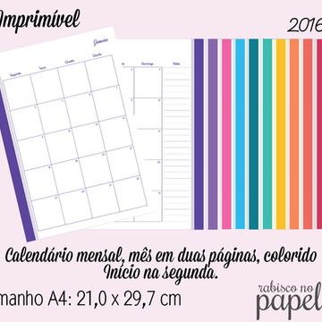 Imprimível Agenda Mensal 2016 - A4