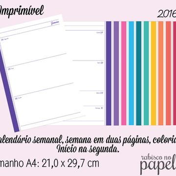 Imprimível Agenda Semanal 2016 - A4