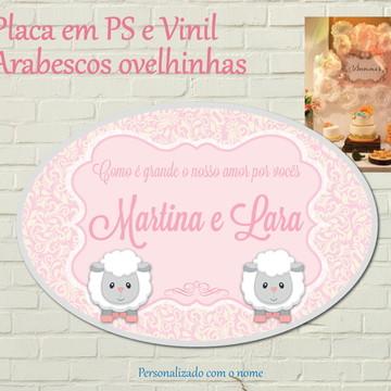 Placa Impressa Ovelhinhas Arabesco Rosa